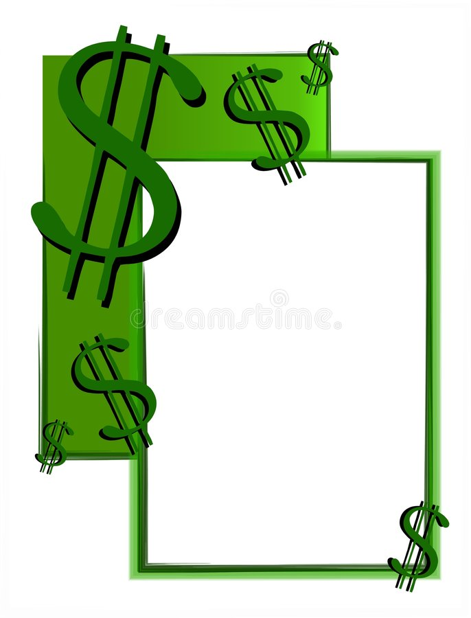 2个现金美元货币符号 库存例证