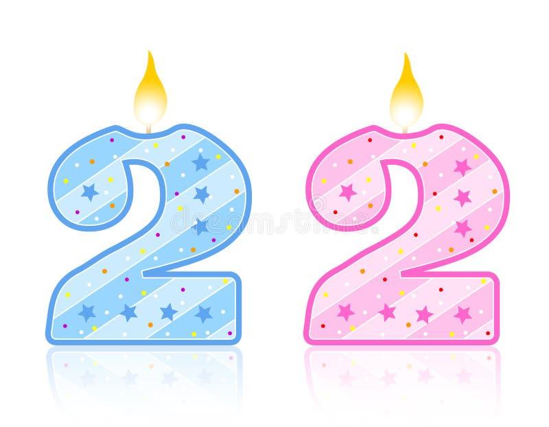 2个生日蜡烛 库存例证
