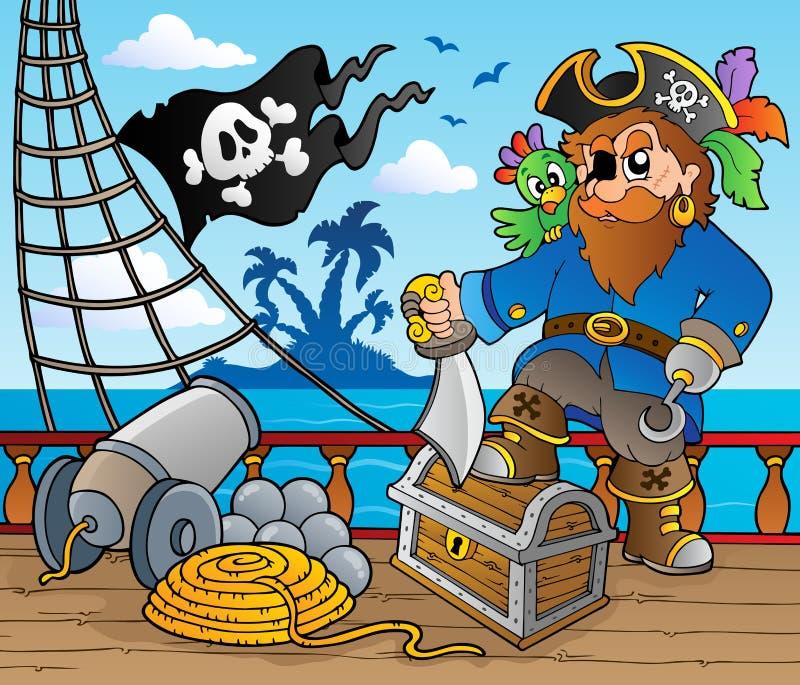 2个甲板海盗船主题 向量例证