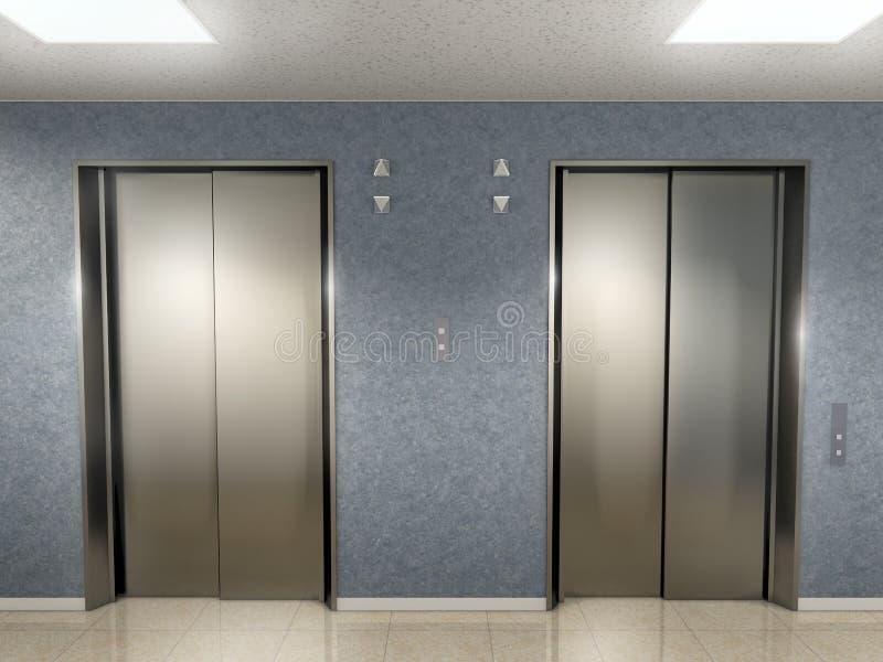 2个电梯大厅 库存例证