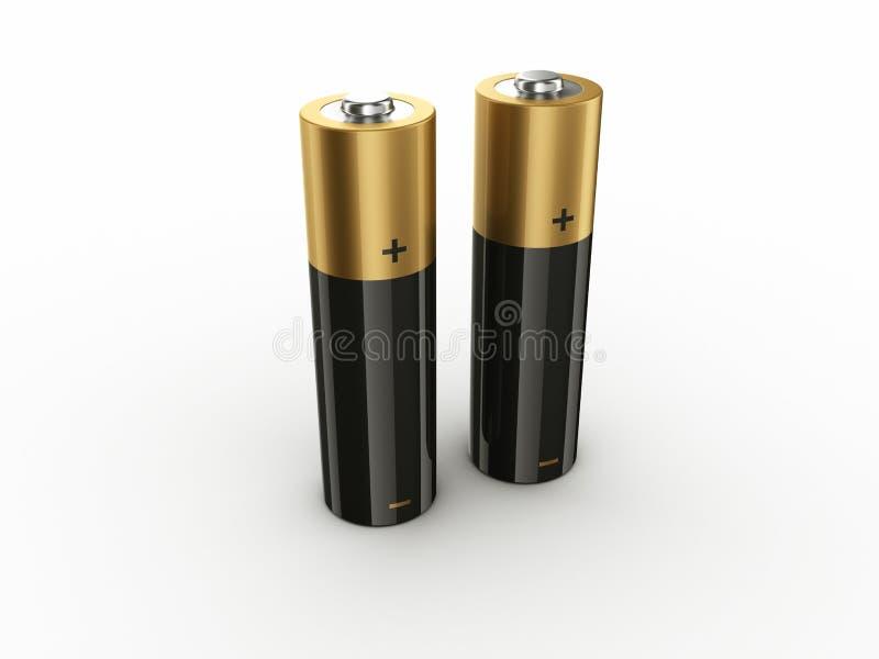 2个电池 向量例证