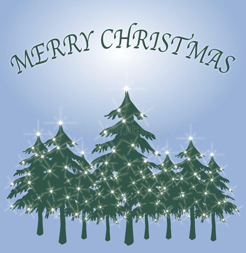 2个看板卡圣诞节绿色结构树 向量例证