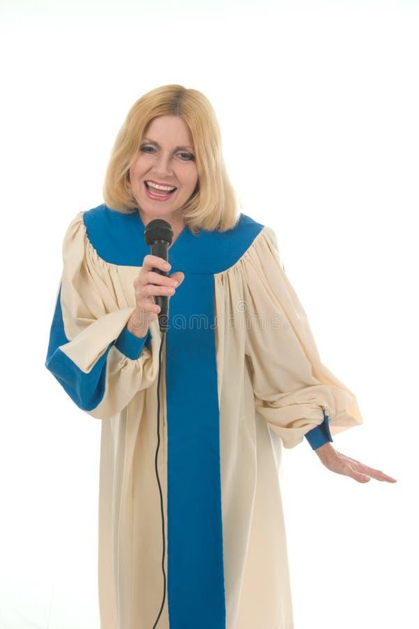2个线索称赞歌唱家妇女 库存图片