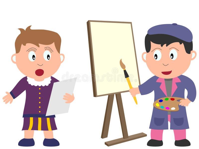 2个艺术工作孩子