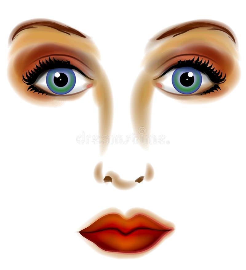 2个艺术数字式表面妇女 向量例证