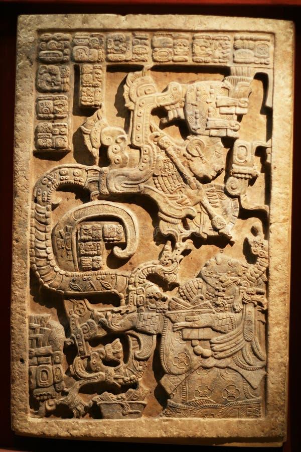2个艺术玛雅人雕塑 免版税库存照片