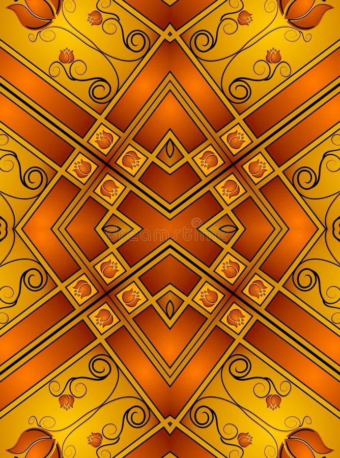 2个装饰金模式 向量例证