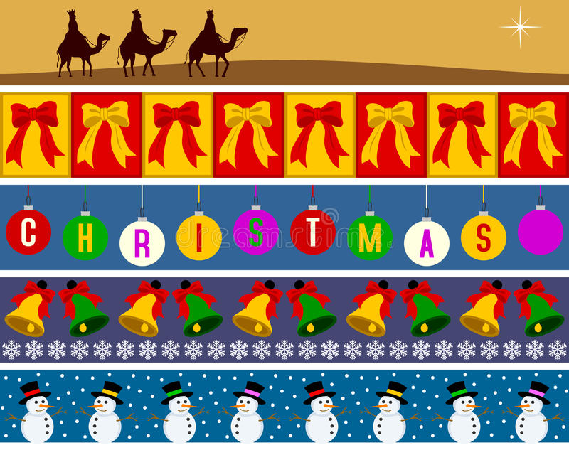 2个边界圣诞节集 库存例证