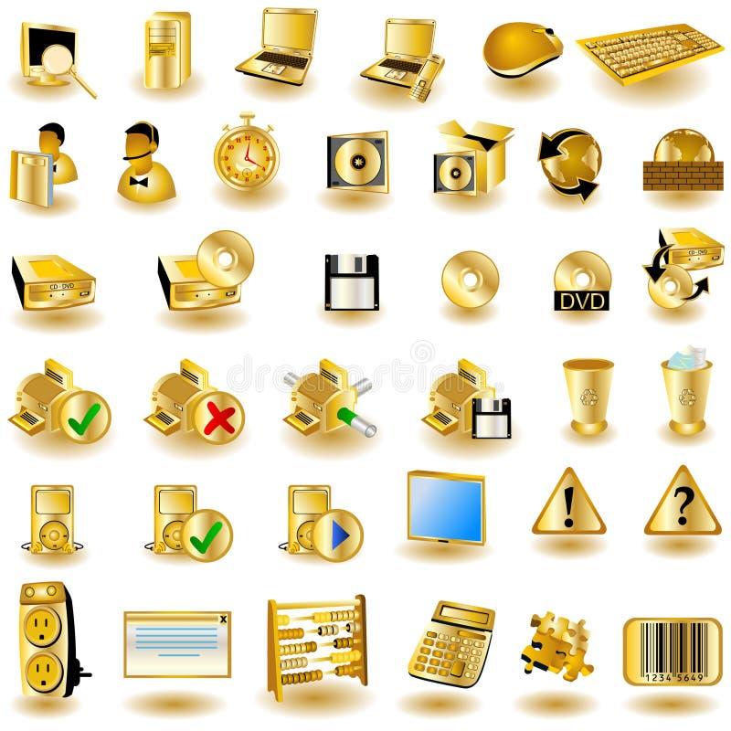 2个金图标界面 库存例证