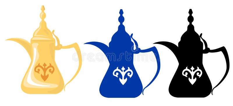 2个阿拉伯剪影茶壶 库存例证