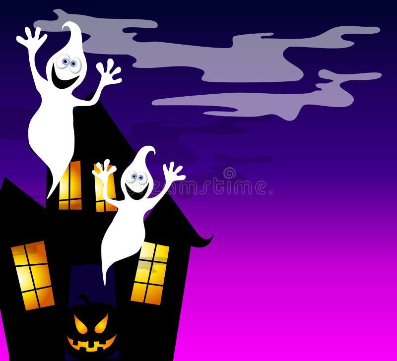2个鬼魂被困扰的房子 库存例证