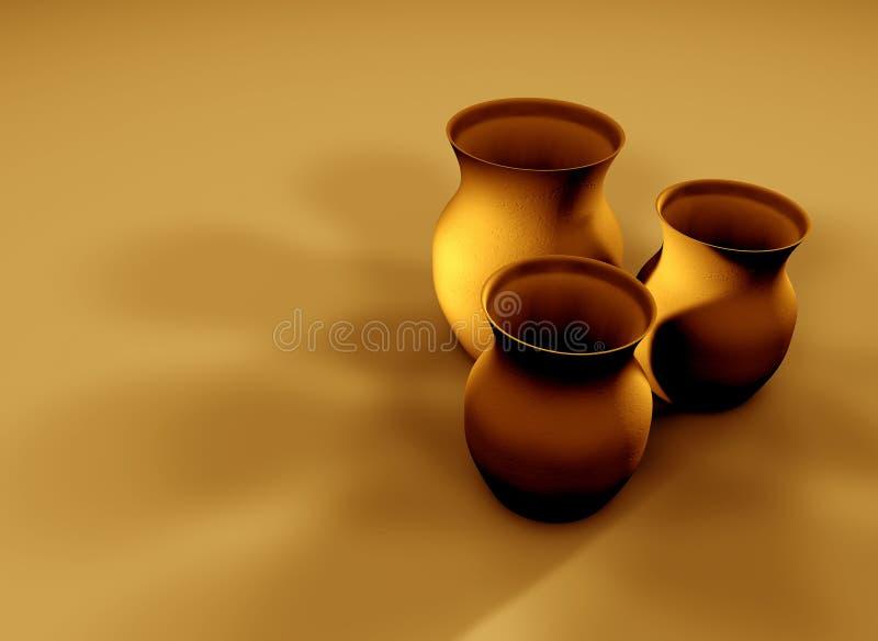 2个黏土水罐 库存例证