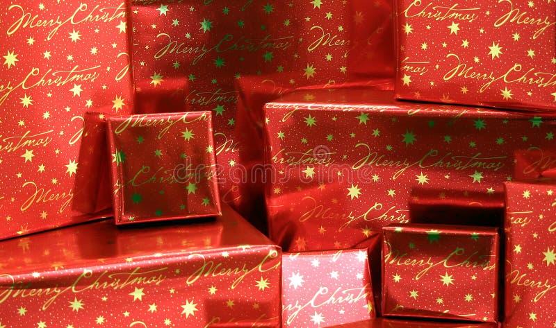 2个boxes5圣诞节礼物系列包裹了 免版税库存图片