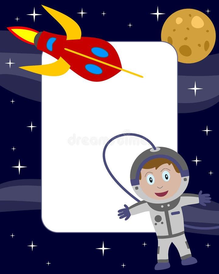 2位宇航员框架孩子照片 库存例证
