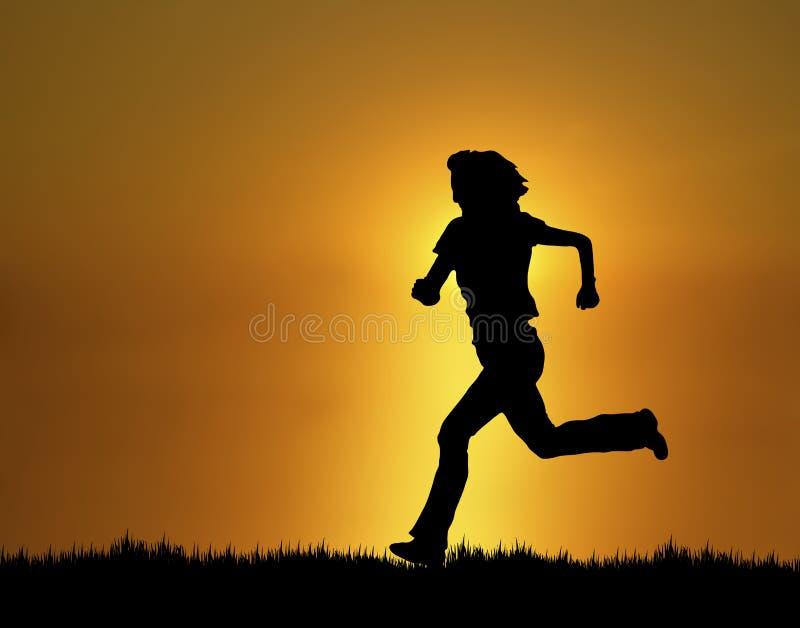 2位慢跑者日落 向量例证