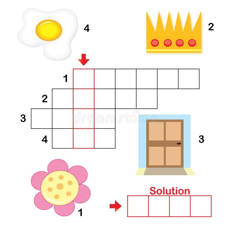 2儿童纵横填字谜零件难题 皇族释放例证