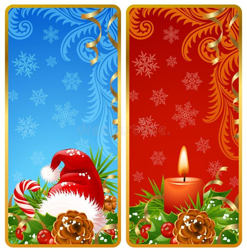 2副横幅圣诞节垂直 皇族释放例证
