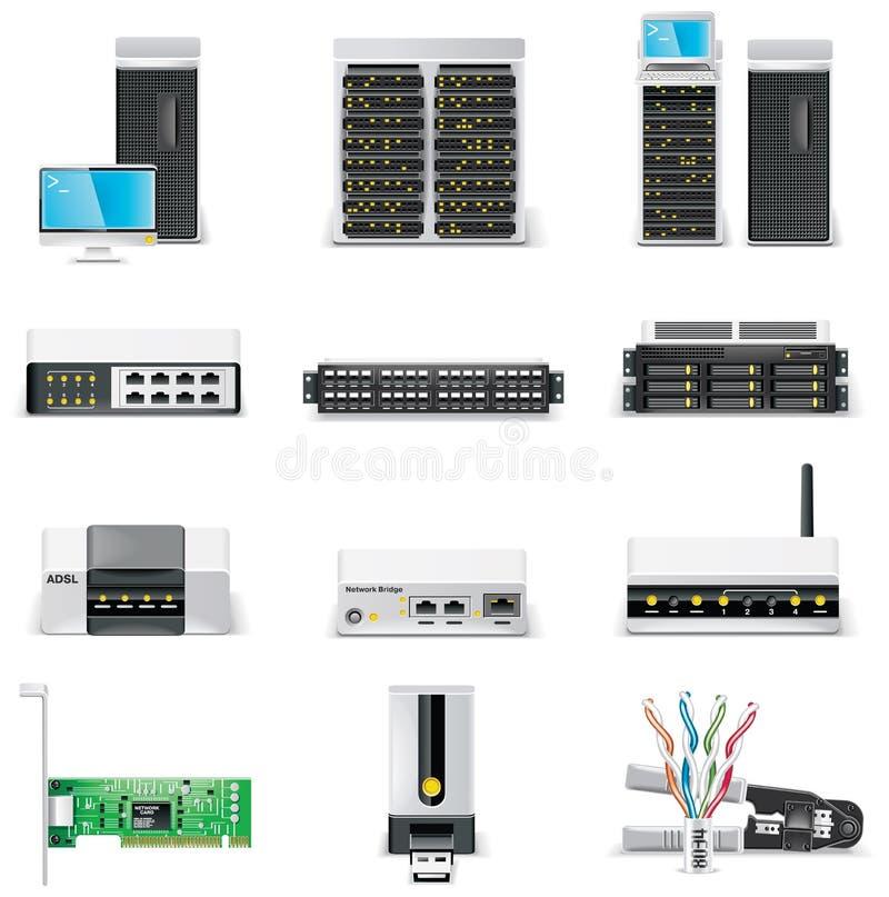 2台计算机图标网络连接零件集合向量& 皇族释放例证