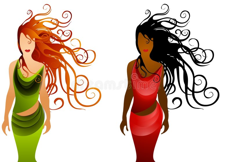 2名方式头发长的妇女 向量例证
