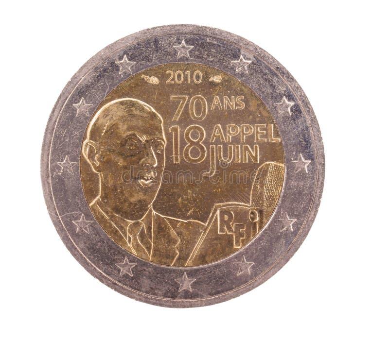 2后侧方硬币欧洲法国特殊 免版税库存照片