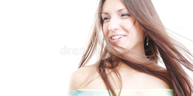 2吹的头发她的风 库存图片