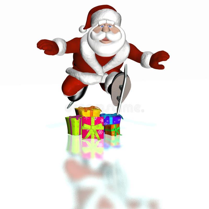 2圣诞老人滑冰 皇族释放例证