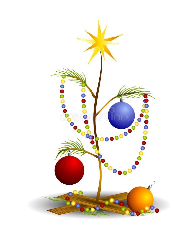 2圣诞节哀伤的微小的结构树 库存例证