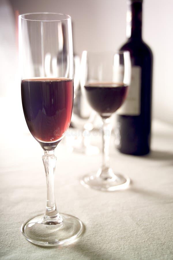 2块玻璃红葡萄酒 免版税库存图片
