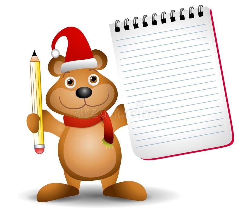 2头熊圣诞节记事本 向量例证