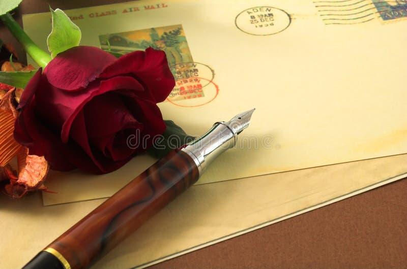 2张明信片红色玫瑰色葡萄酒 免版税库存照片