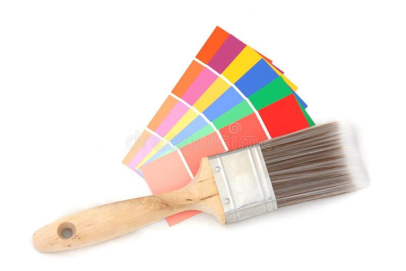 2支画笔颜色指南 免版税库存图片