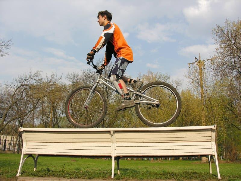 2条长凳骑自行车的人 免版税库存图片