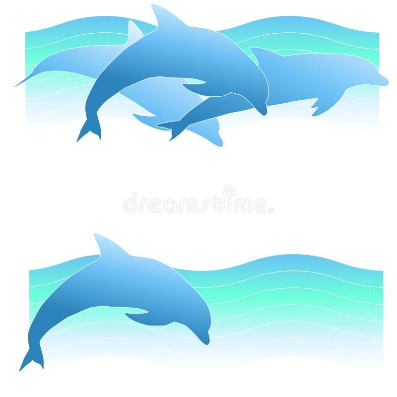 2横幅海豚徽标 库存例证
