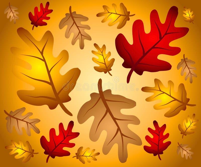 2片背景秋天叶子橡木 库存例证