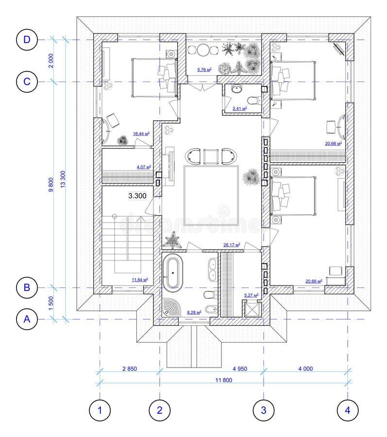 2结构上楼层房子计划 向量例证