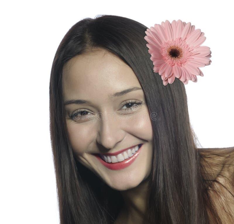 2美丽的纵向微笑的妇女 免版税库存图片