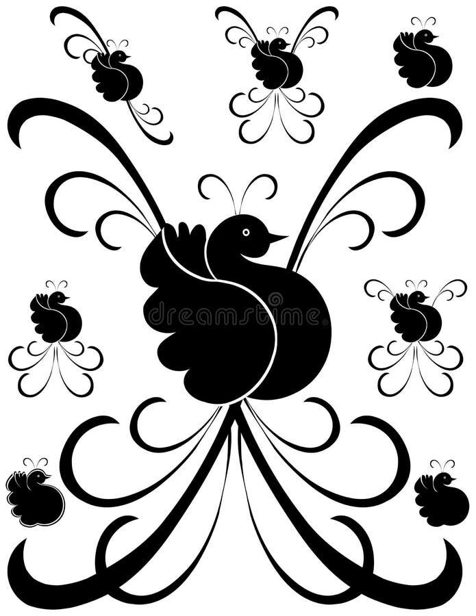 2艺术鸟装饰花梢 库存例证