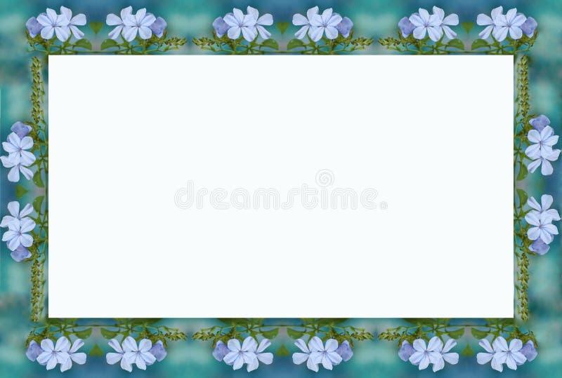 2蓝色花框架 库存例证