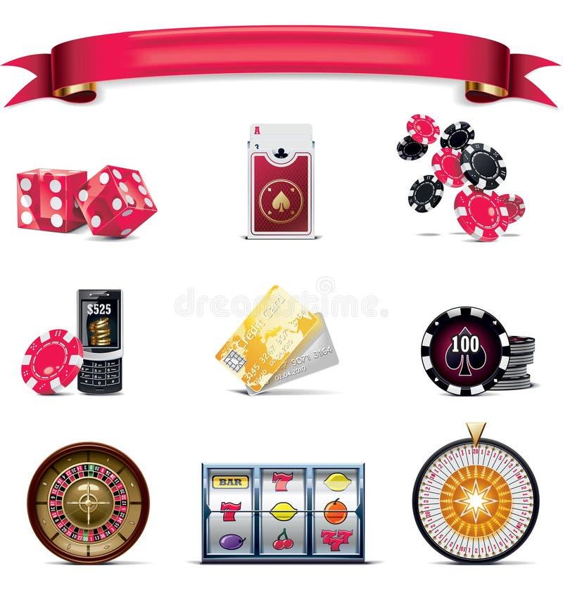 2赌博的图标零件集合向量白色 皇族释放例证