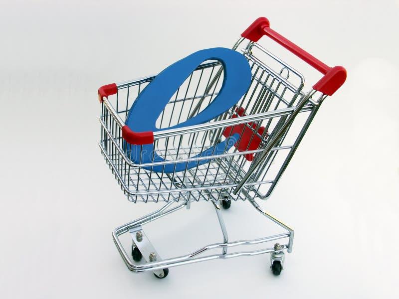 2辆购物车商务e购物的侧视图 免版税图库摄影