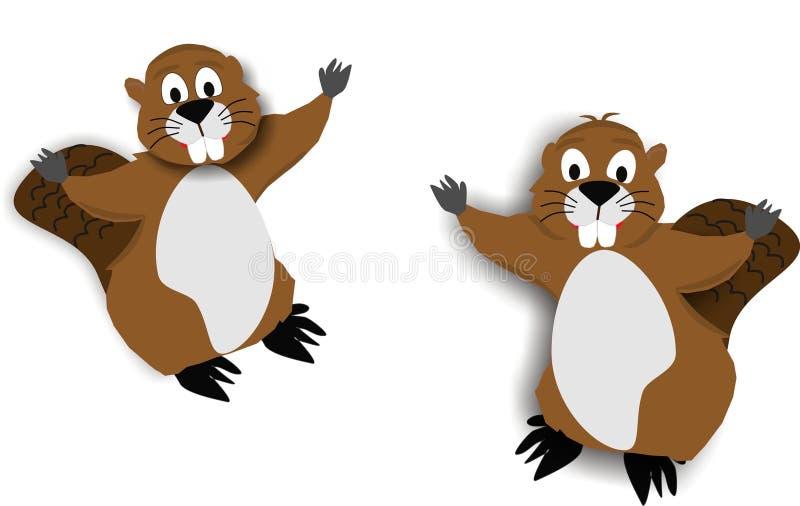 2部海狸动画片 向量例证