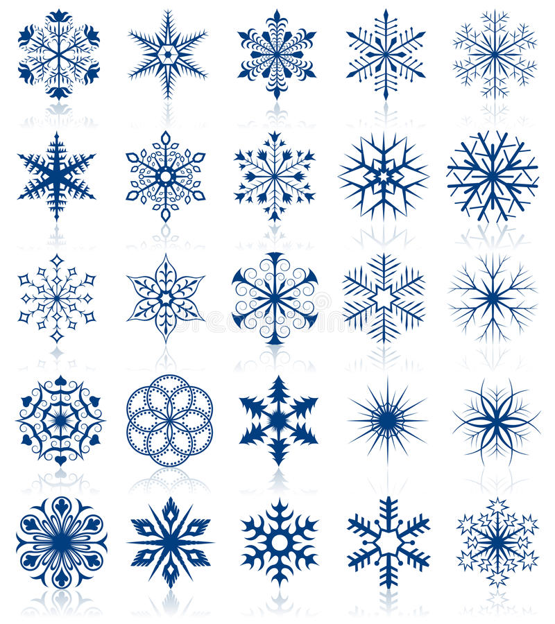 2集合形状雪花 库存例证