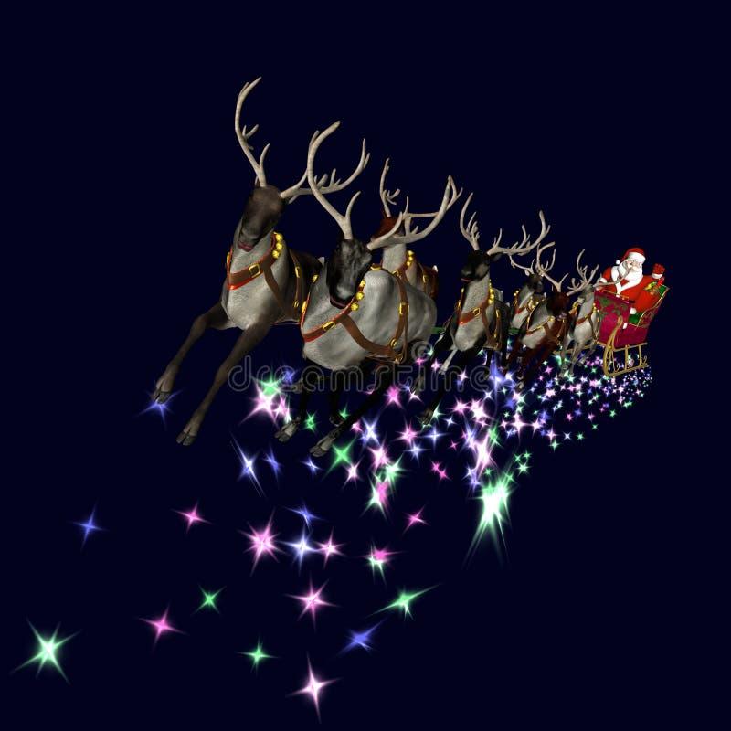 2驯鹿圣诞老人 库存例证