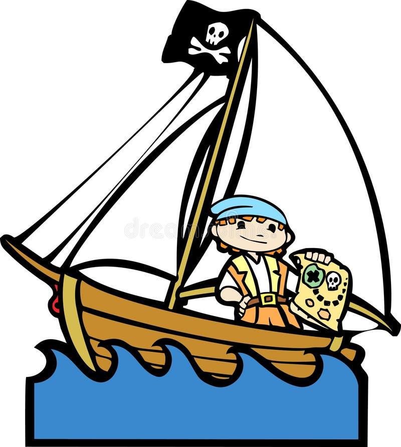 2 łodzi chłopiec pirat ilustracji