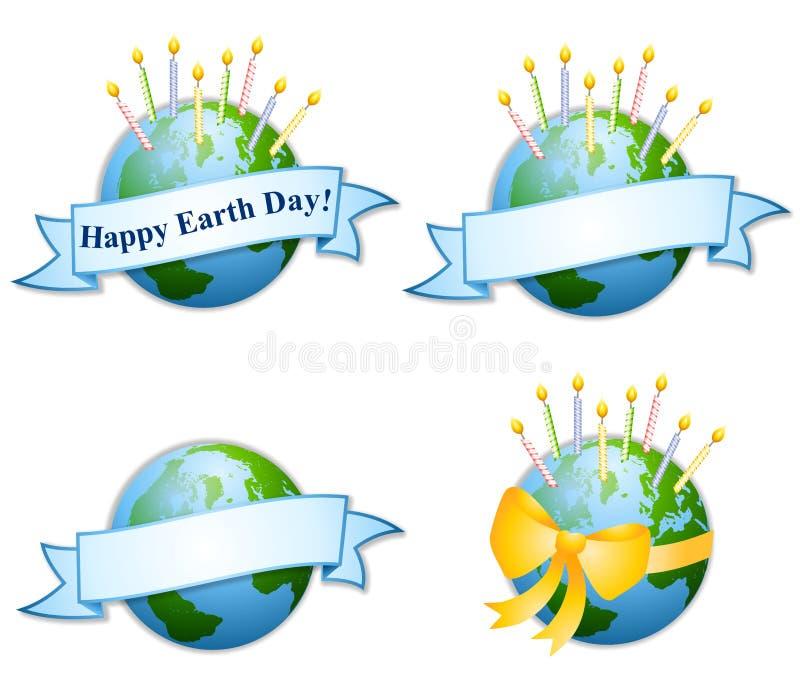 2 świeczki urodzin dzień ziemi szczęśliwą ilustracji