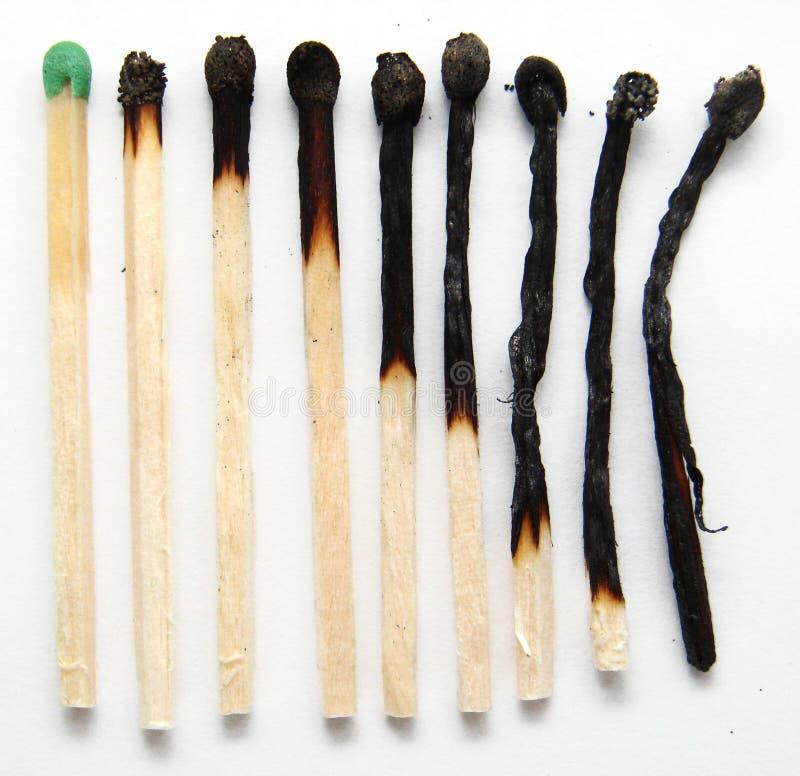 2 έκαψαν τις αντιστοιχίες στοκ φωτογραφίες