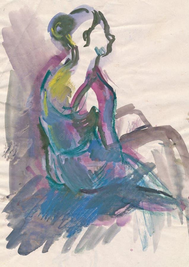 2 γυναίκες χορευτών ballerina διανυσματική απεικόνιση