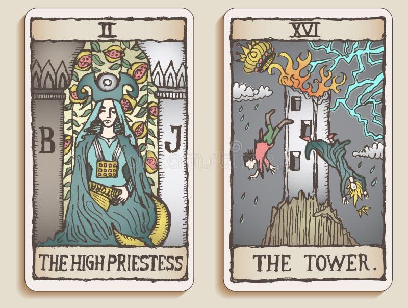 2 κάρτες tarot δύο β διανυσματική απεικόνιση