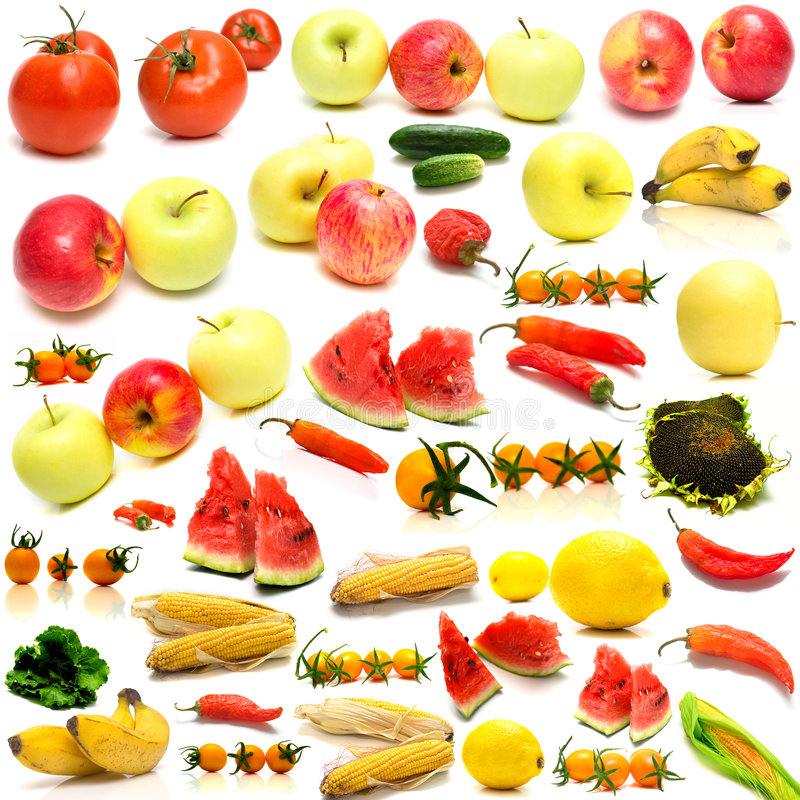 2 λαχανικά καρπών κολάζ στοκ φωτογραφία με δικαίωμα ελεύθερης χρήσης