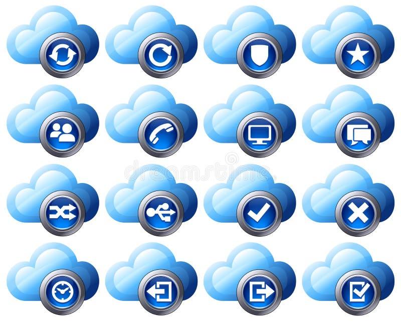 2 μπλε εικονίδια σύννεφων που τίθενται απεικόνιση αποθεμάτων